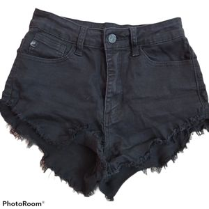 KanCan Black Frayed Jeans Shorts in 25